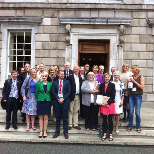 Outside Leinster House celebrating the passing of the Gender Recognition Bill